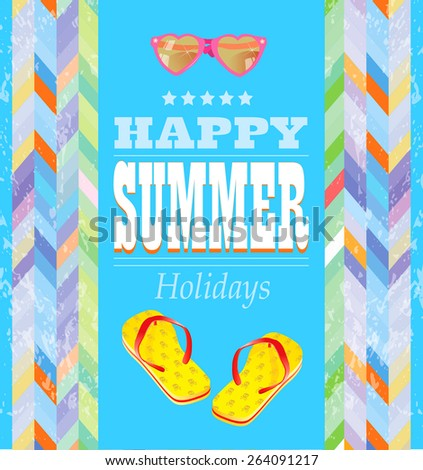 Summer Holidays poster.     - stock vector