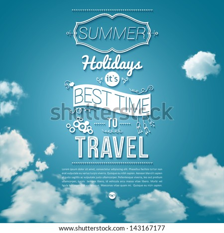 Summer holidays poster in cutout paper style. Sunny day background with clouds. Tourist poster. Vector image. - stock vector