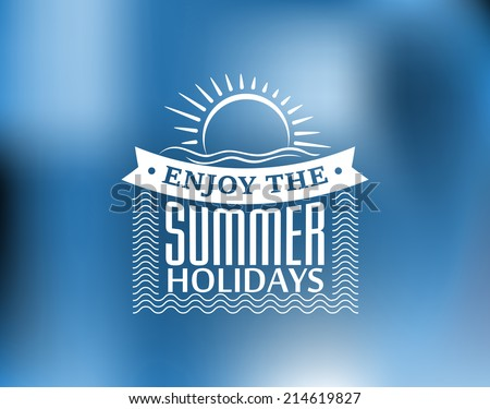 Summer Holidays poster or banner design with a sun, waves, island beach and text Enjoy The Summer Holidays. For journey, travel, tourism design - stock vector