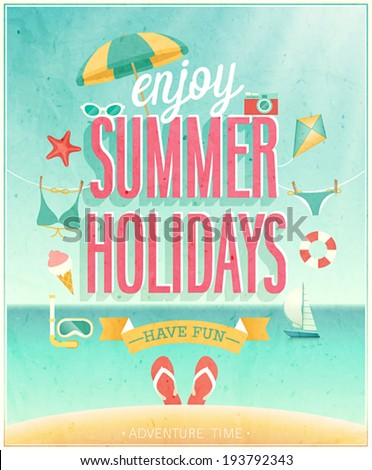 Summer Holidays poster. Vector illustration. - stock vector