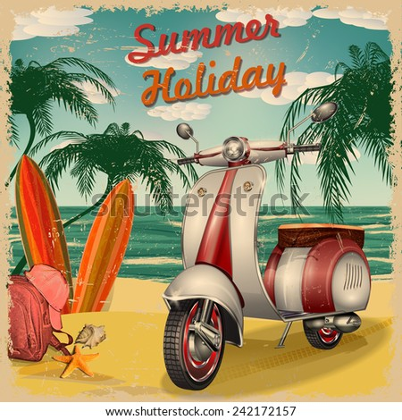 Summer holidays poster with scooter and surfboards. - stock vector