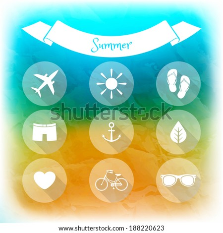 Summer holidays, set of flat icons. Blurred summer background. Elements for web and mobile interface - stock vector