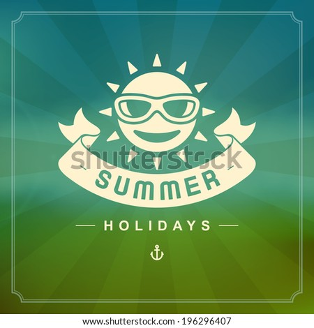 Summer holidays vector background. Summer beach vacation and tropical paradise for your design vector illustration.  - stock vector