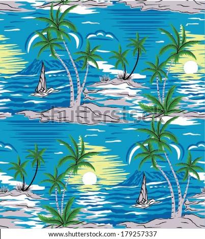Summer holidays - vector.Coconut palm tree.Ocean and Blue Sky - stock vector