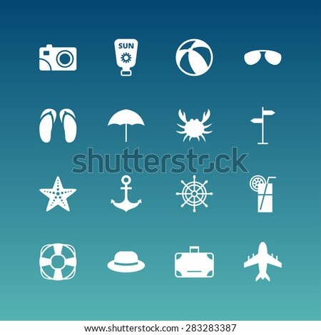 Summer Holidays Vector Icon Set. Flat Design White Icons on Blue Background - stock vector
