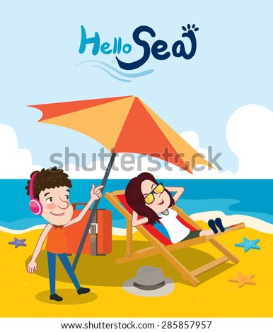 Summer holidays vector illustration,flat design beach and couples concept - stock vector