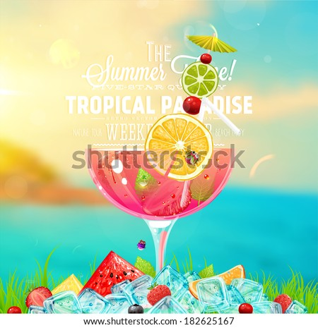 Summer holidays vector illustration set with cocktails, palms, sun, sky, sea, fruits and berries. - stock vector