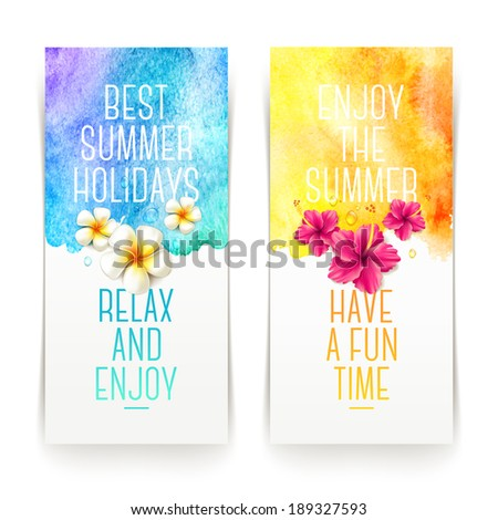 Summer holidays watercolor banners with tropical flowers and summer greetings - vector illustration - stock vector