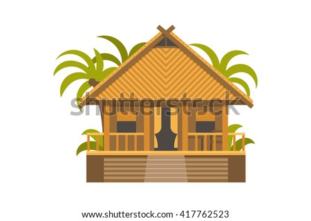 Summer house. Wooden villa suite with green palms. Romantic cozy bungalow or small apartments building for rent or living. Timber cottage vector illustration - stock vector