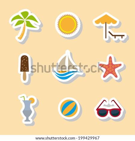 Summer icon set. - stock vector