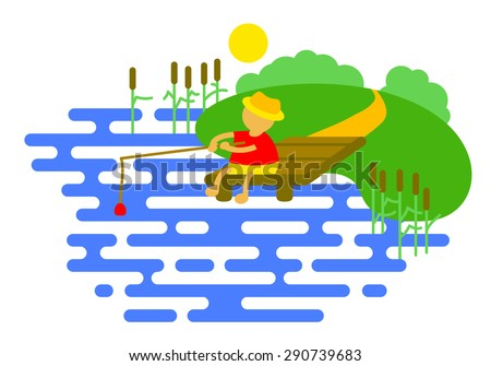 Summer icon with fishing near the river - stock vector