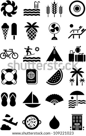 Summer icons - stock vector