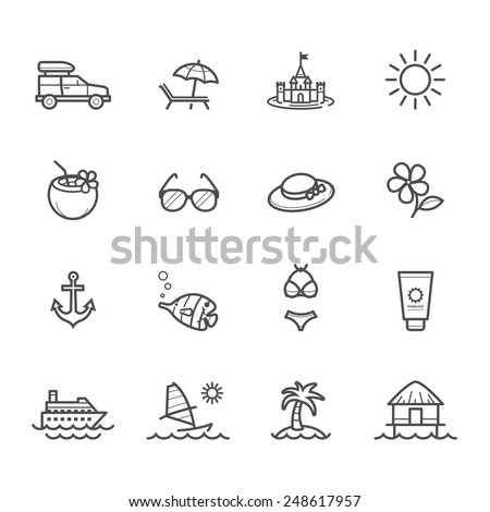 Summer Icons and Beach Icons - stock vector