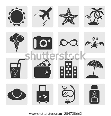 Summer icons. Set elements for design. Vector illustration. - stock vector