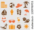 Summer icons set.Vector - stock vector