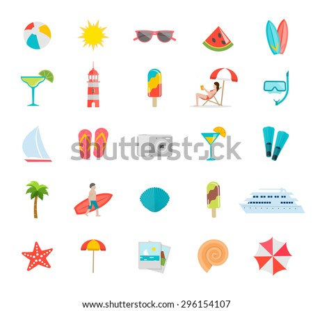 Summer icons set with beach umbrella, surfs, surfer, flippers, flip flops, diving mask, sunglasses, seashells, tanning girl in deck chair, beach ball, boats, starfish etc. - stock vector