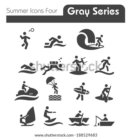 Summer Icons Two gray series Four - stock vector