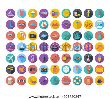 Summer Icons. Vector illustration. - stock vector