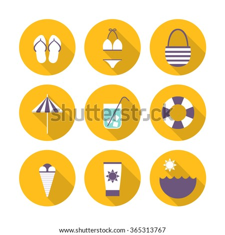 summer icons. vector illustration - stock vector