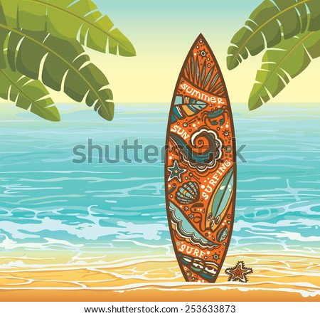 Summer illustration with orange surfboard on a beach and blue sea. Vector holidays. - stock vector