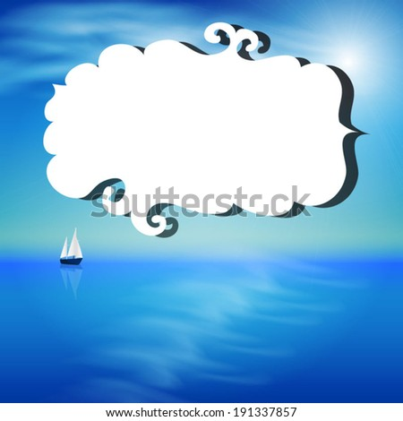Summer illustration with the ocean and yacht - stock vector