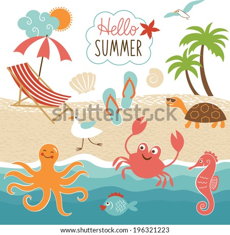 Summer images set  - stock vector