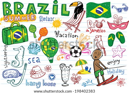 Summer in Brazil - doodles collection - vacation, football, Brazilian accessories, clothes, trees, musical instruments, animals. For banners, backgrounds, presentations.  - stock vector
