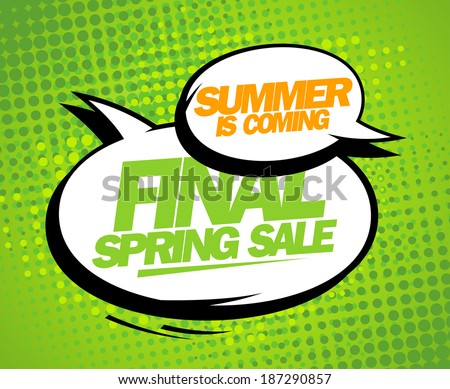 Summer is coming, final spring sale design with balloons. - stock vector