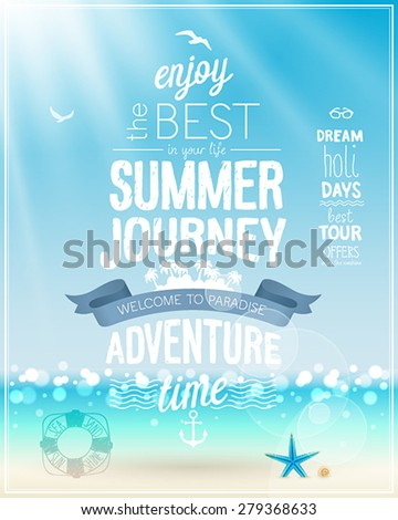 Summer Journey poster with tropical background. - stock vector