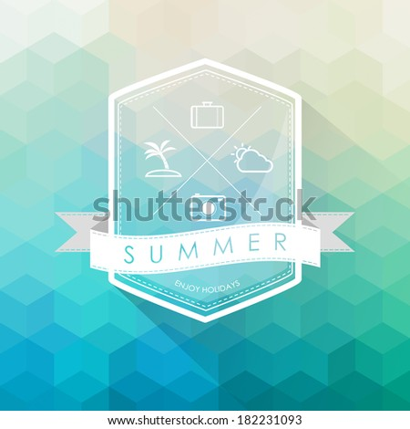 summer label on polygon abstract background vector - stock vector