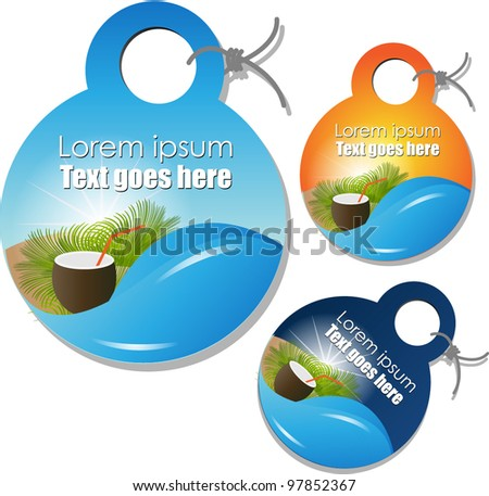 summer labels tags - stock vector