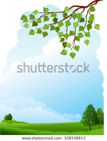 Summer landscape - stock vector