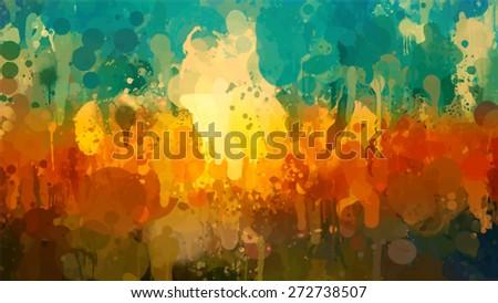 Summer landscape brush strokes background. Vector version - stock vector