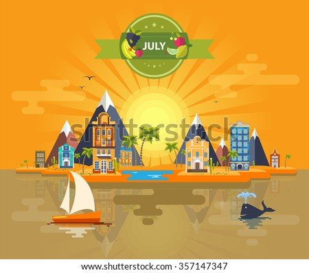 Summer landscape. Small town. Set 4. Month of July. Infographics. Calendar. Mountain, sun, rays, nature, park, urban, building, boat, sail, city. Flat design. Stock. Image. Illustration. Vector. - stock vector