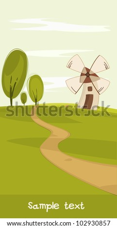 Summer landscape with a wind mil - stock vector