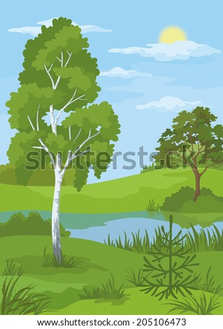 Summer landscape with birch and coniferous trees, river, sun and blue sky. Vector - stock vector