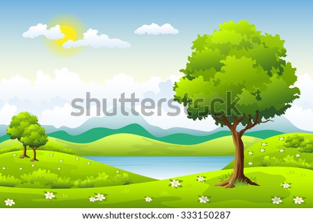 Summer landscape with flowers and trees - stock vector