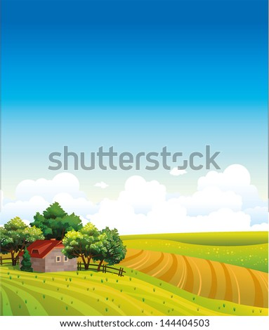 Summer landscape with green field and house on a blue sky with clouds - stock vector
