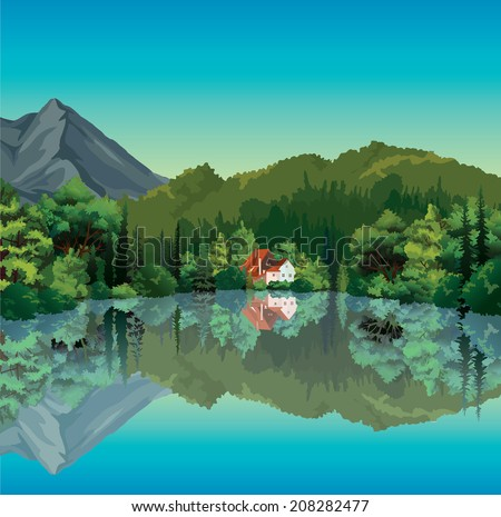 Summer landscape with green forest and house with red roof reflecting in the calm lake. Nature vector. - stock vector