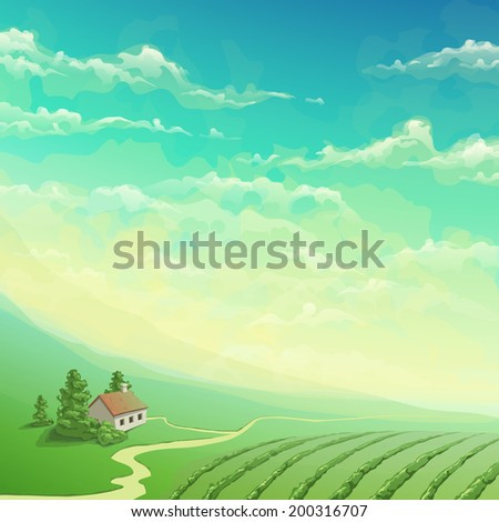 summer landscape with house - stock vector