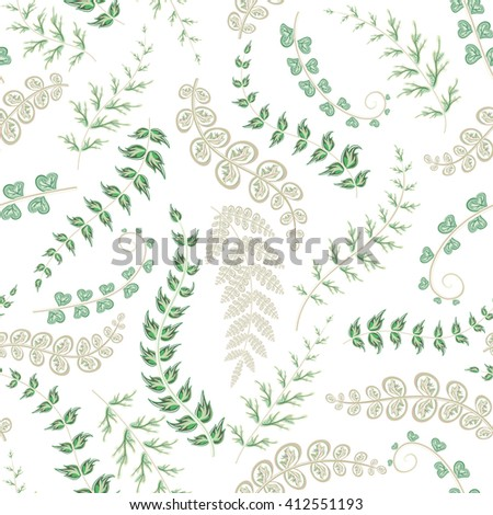 Summer leaves. Seamless hand painted pattern. Vector background. Delicate green leaves on white backdrop. - stock vector