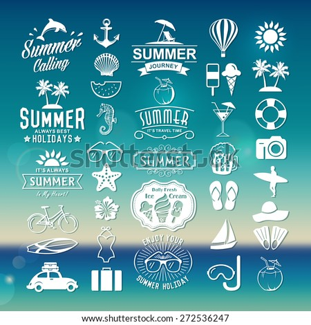 Summer logotypes set. Summer vintage design elements, logos, badges, labels, icons and objects. Summer holidays. - stock vector