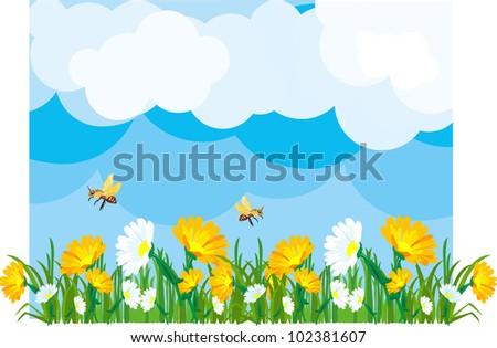 Summer meadow in sunny flowering fields - stock vector