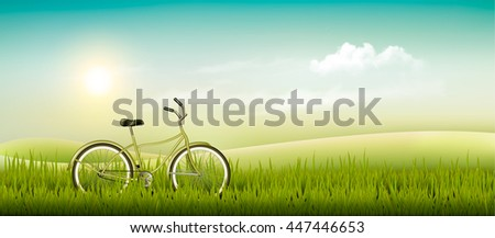Summer meadow landscape with a bicycle. Vector. - stock vector