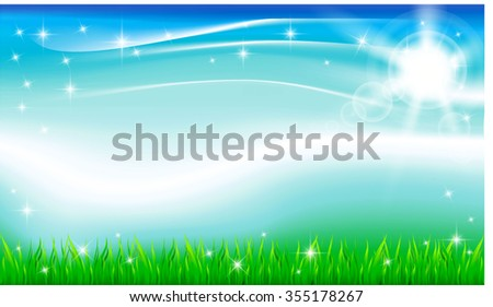 Summer meadow on bright sunny day, vector - stock vector