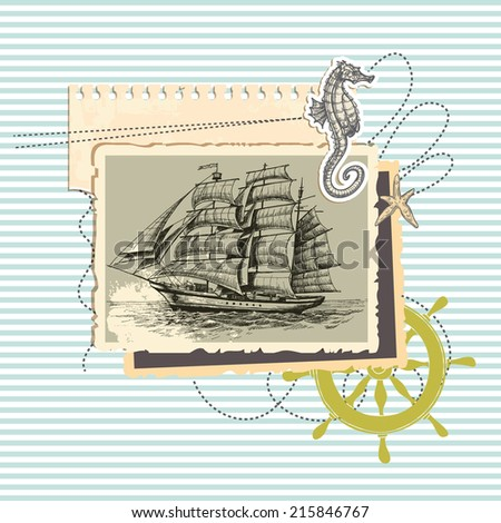 Summer memories, old ship photo and marine elements, retro scrapbook background - stock vector