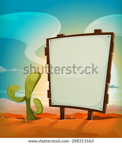 Summer Mexican Desert With Wood Sign/ Illustration of a vintage cartoon mexican desert landscape in the sunrise, in summer season, with cactus plant and blank white paper on a wood sign - stock vector