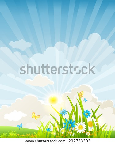 Summer morning background with place for text. Nature positive design for advertising, leaflet, cards, invitation and so on. - stock vector