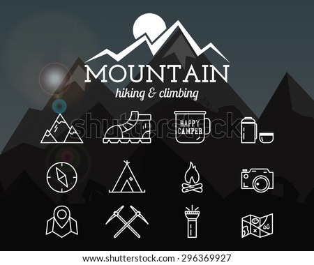 Summer mountain camp badge, logo template and label. Travel, hiking, climbing line icons. Thin and outline design. Outdoor. Best for adventure sites, travel magazine etc.On blurred background. Vector - stock vector