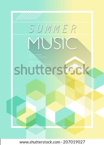 summer music poster in light blue and yellow tones  - stock vector